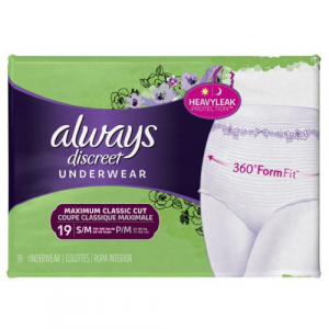 3700088761 Always Discreet Pullup Underwear Maximum Classic Cut